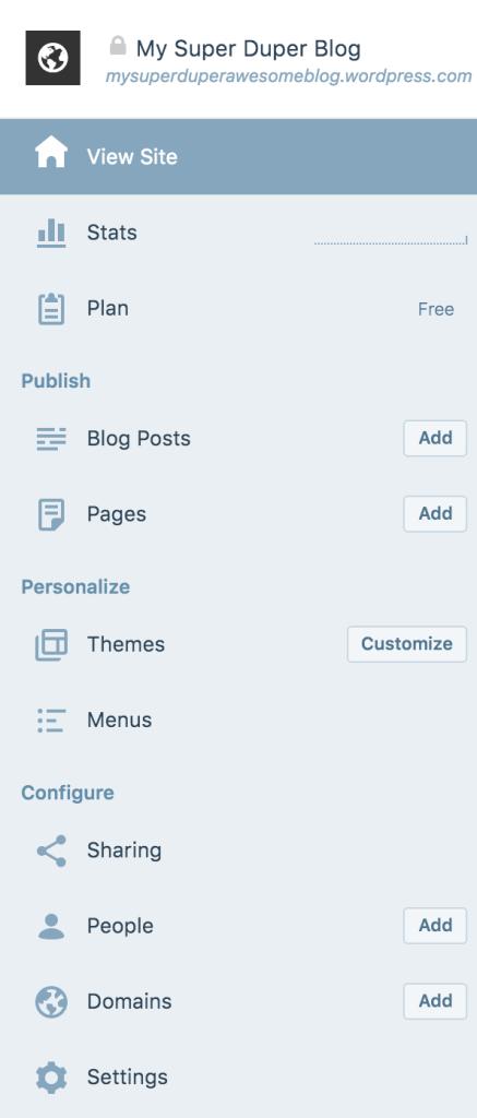 my sites dashboard