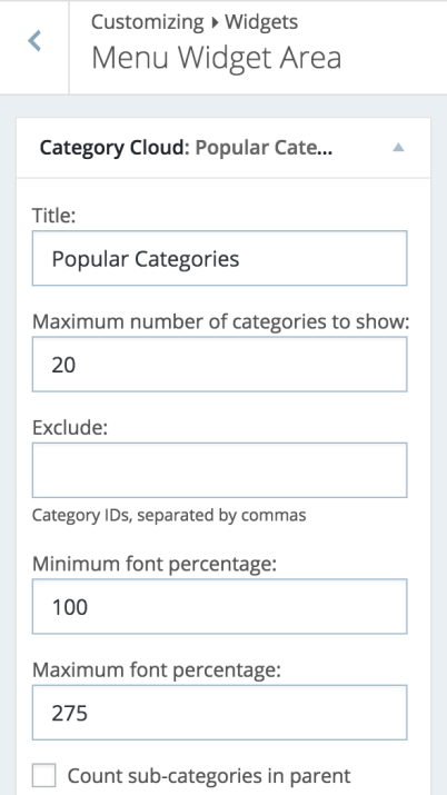 widget configuration settings