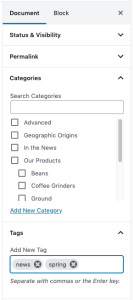 Document Categories and Tags